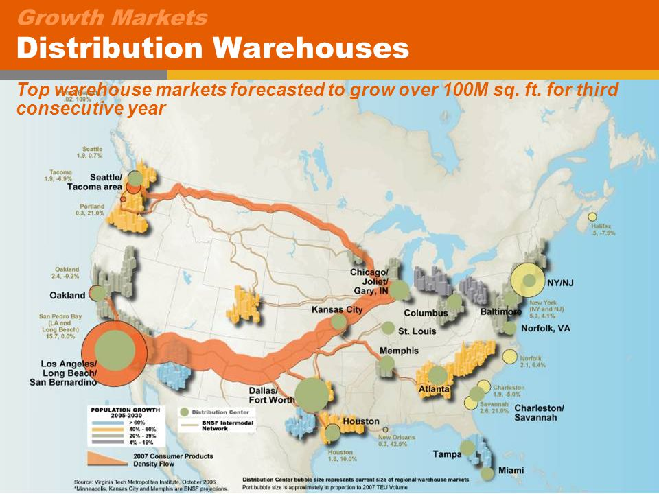 22 Growth Markets Distribution Warehouses Top warehouse markets forecasted to grow over 100M sq.