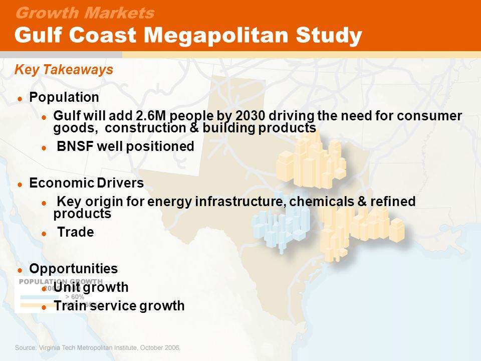 23 Key Takeaways Growth Markets Gulf Coast Megapolitan Study Population Gulf will add 2.6M people by 2030 driving the need for consumer goods, construction & building products BNSF well positioned Economic Drivers Key origin for energy infrastructure, chemicals & refined products Trade Opportunities Unit growth Train service growth