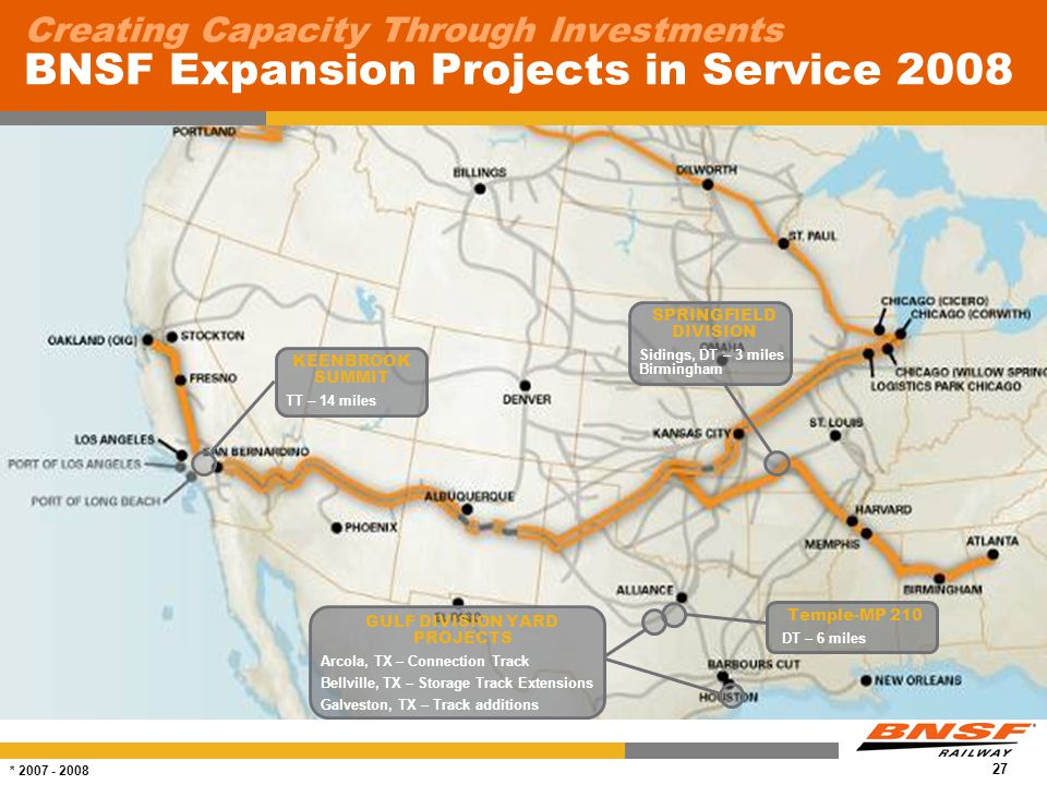 27 Creating Capacity Through Investments BNSF Expansion Projects in Service 2008 * 2007 - 2008 KEENBROOK SUMMIT TT – 14 miles SPRINGFIELD DIVISION Sidings, DT – 3 miles Birmingham Temple-MP 210 DT – 6 miles GULF DIVISION YARD PROJECTS Arcola, TX – Connection Track Bellville, TX – Storage Track Extensions Galveston, TX – Track additions