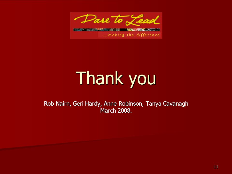 11 Thank you Rob Nairn, Geri Hardy, Anne Robinson, Tanya Cavanagh March 2008.
