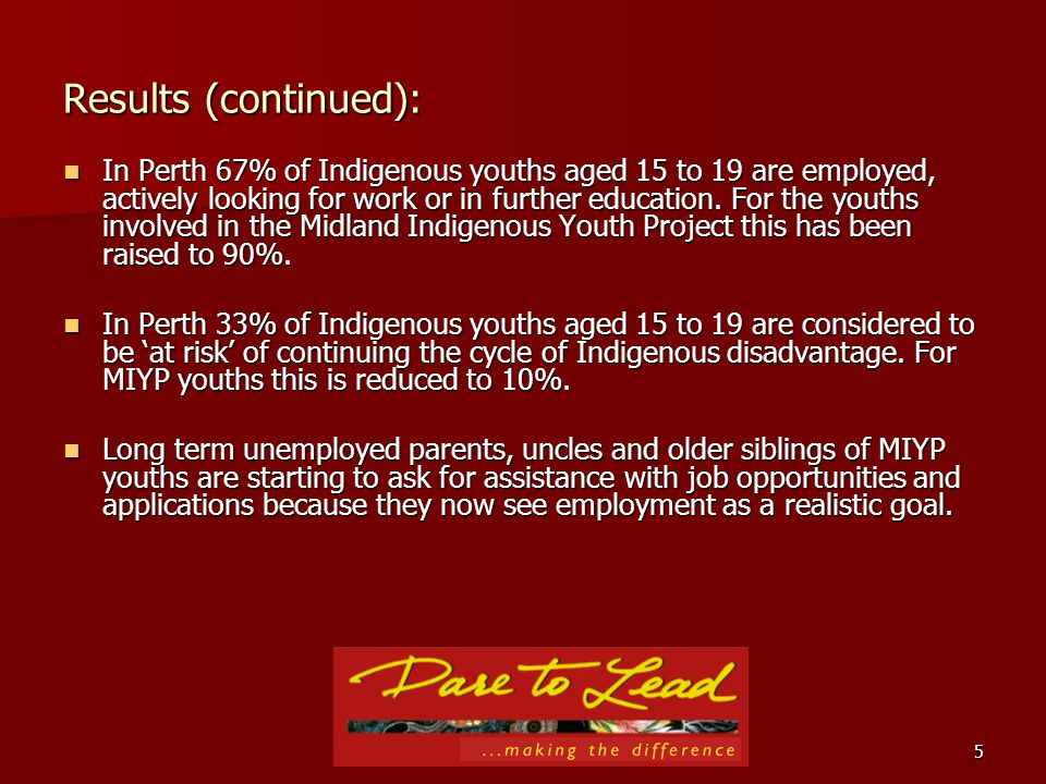 5 Results (continued): In Perth 67% of Indigenous youths aged 15 to 19 are employed, actively looking for work or in further education.