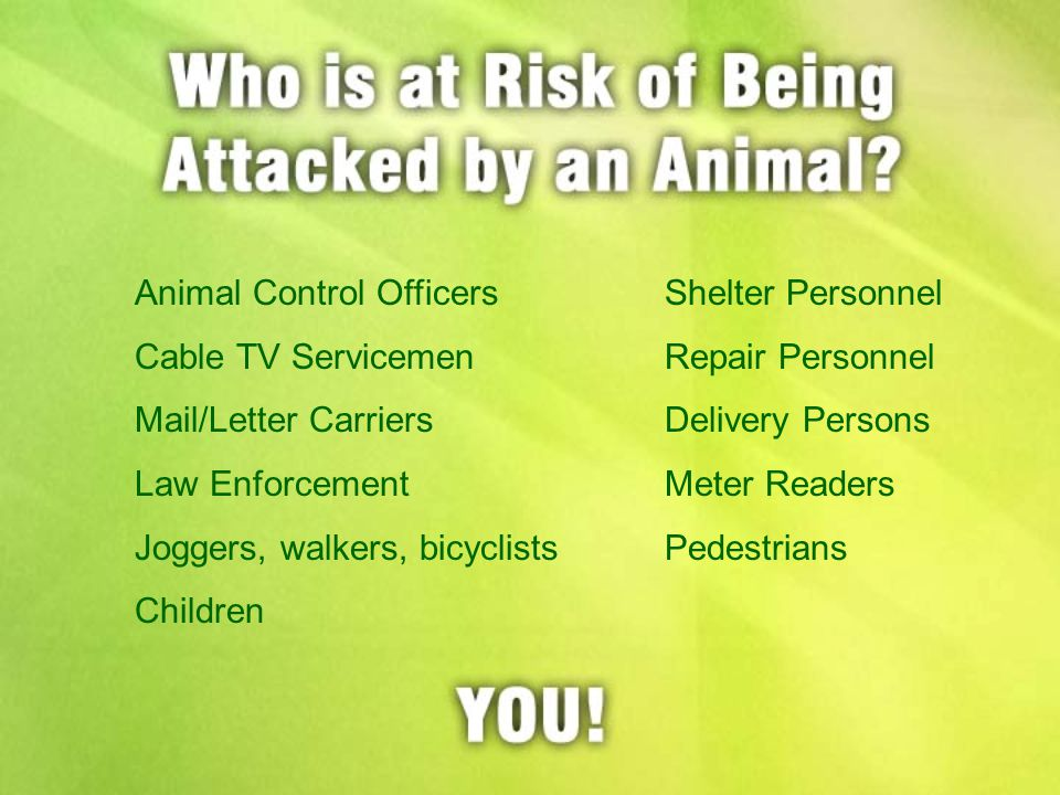 Animal Control OfficersShelter Personnel Cable TV ServicemenRepair Personnel Mail/Letter CarriersDelivery Persons Law EnforcementMeter Readers Joggers, walkers, bicyclistsPedestrians Children
