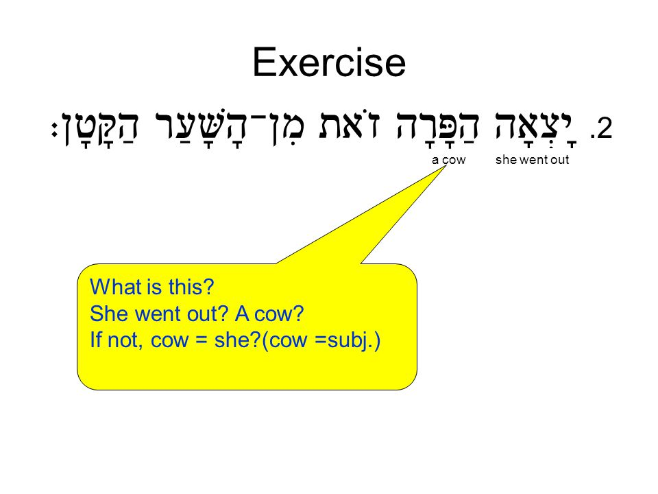 Exercise.2 a cowshe went out What is this She went out A cow If not, cow = she (cow =subj.)