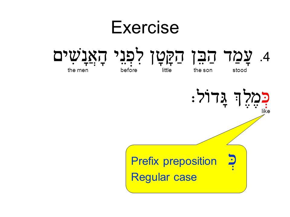 Exercise.4 stoodthe sonlittlebeforethe men like Prefix preposition Regular case