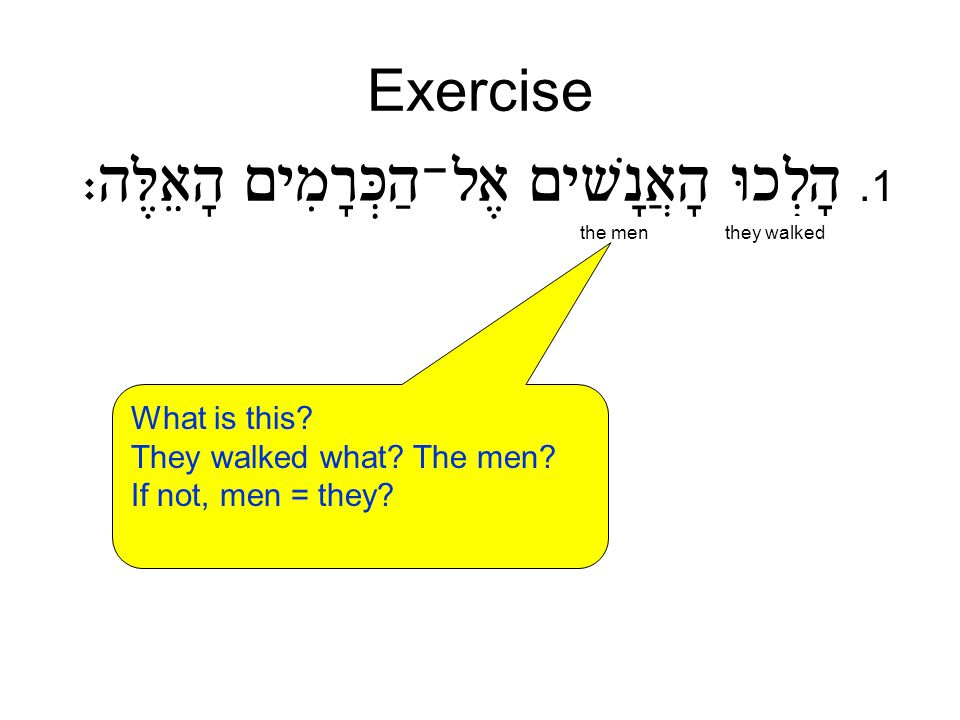 Exercise.1 the menthey walked What is this? They walked what? The men? If not, men = they? The men walked