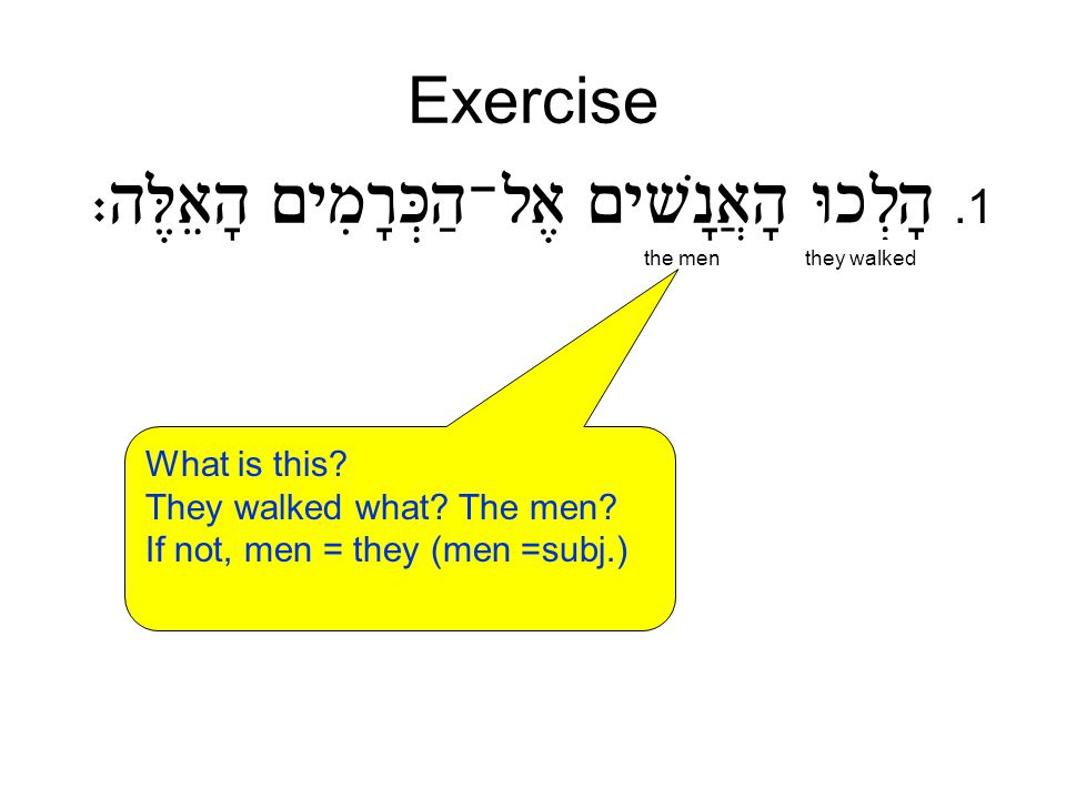Exercise.1 the menthey walked What is this? They walked what? The men? If not, men = they (men =subj.) The men walked