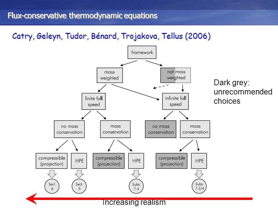 Flux-conservative thermodynamic equations Catry, Geleyn, Tudor, Bénard, Trojakova, Tellus (2006) Increasing realism Dark grey: unrecommended choices