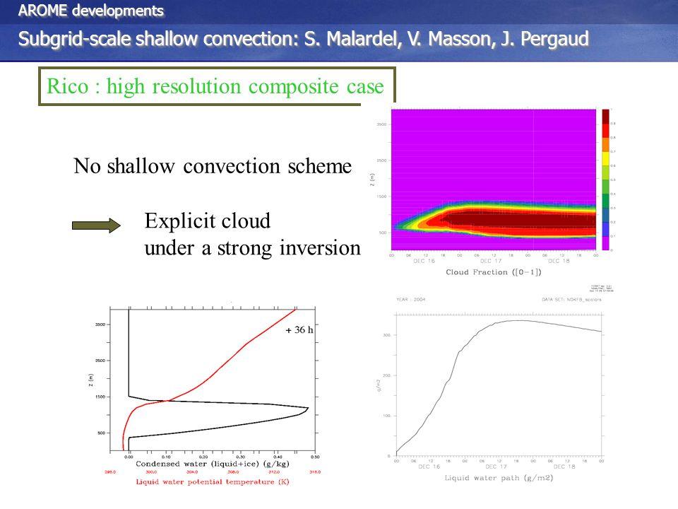 Rico : high resolution composite case No shallow convection scheme Explicit cloud under a strong inversion AROME developments Subgrid-scale shallow convection: S.