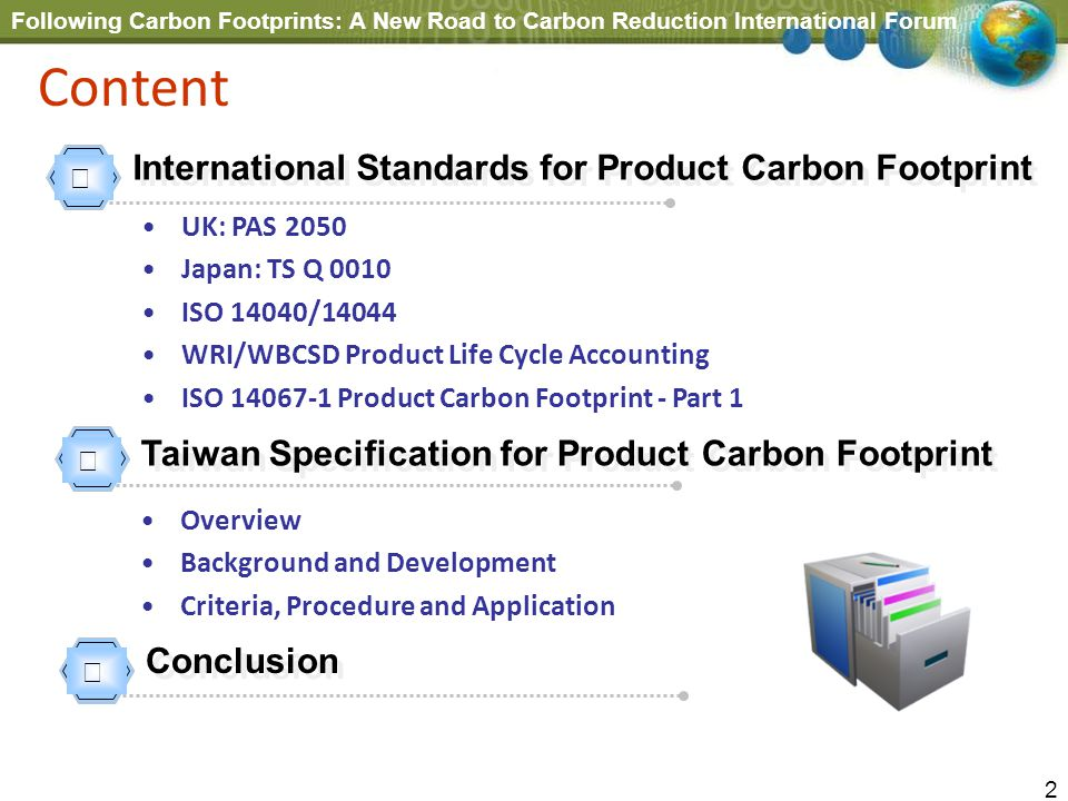 Following Carbon Footprints: A New Road to Carbon Reduction International Forum 2 Content International Standards for Product Carbon Footprint UK: PAS