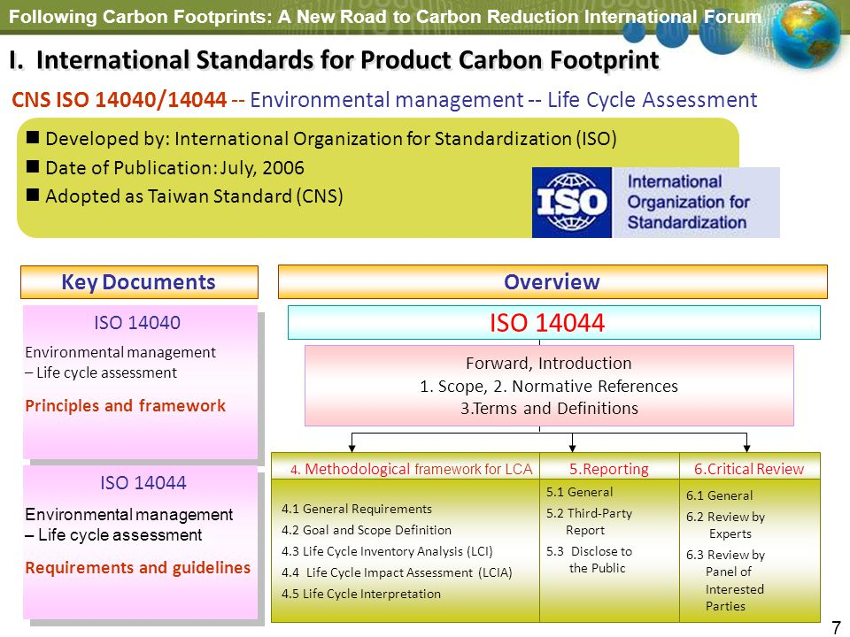 Following Carbon Footprints: A New Road to Carbon Reduction International Forum 7 Key Documents ISO 14040 Environmental management – Life cycle assess