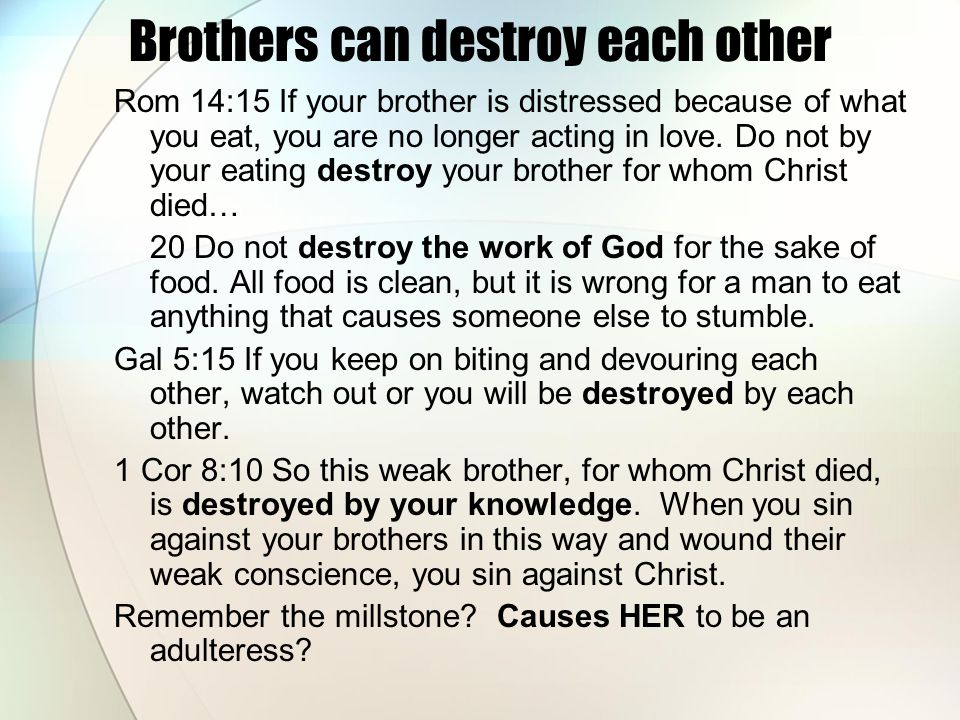 Brothers can destroy each other Rom 14:15 If your brother is distressed because of what you eat, you are no longer acting in love.