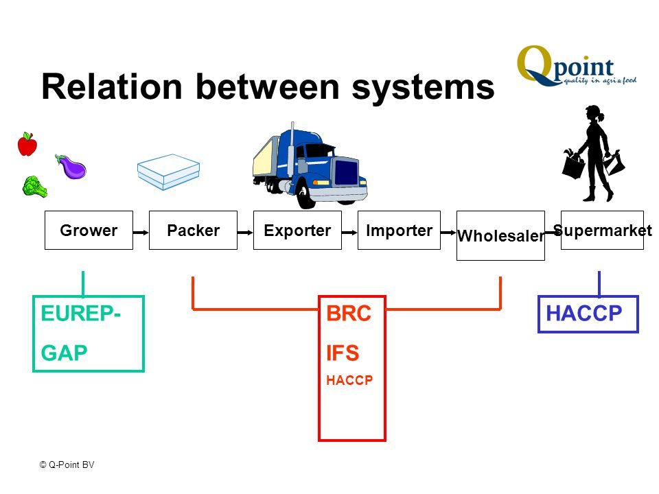 © Q-Point BV Relation between systems GrowerPackerExporterImporter Wholesaler Supermarket EUREP- GAP HACCPBRC IFS HACCP