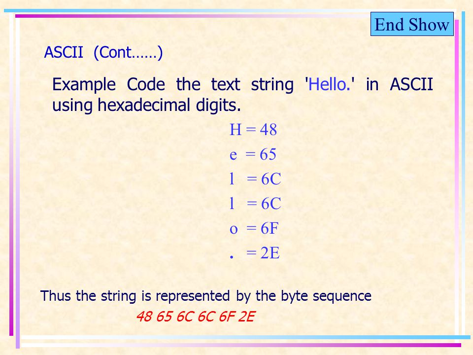 End Show ASCII (Cont……) Example Code the text string Hello. in ASCII using hexadecimal digits.