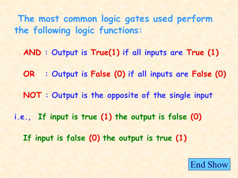 The most common logic gates used perform the following logic functions: AND : Output is True(1) if all inputs are True (1) OR : Output is False (0) if all inputs are False (0) NOT : Output is the opposite of the single input i.e., If input is true (1) the output is false (0) If input is false (0) the output is true (1) End Show