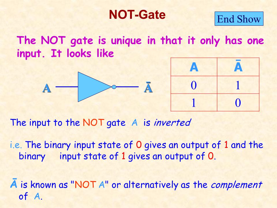 NOT-Gate The input to the NOT gate A is inverted i.e.
