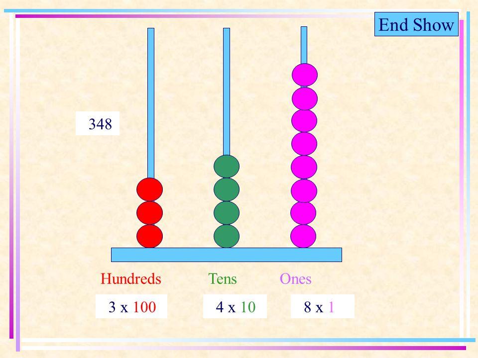 End Show HundredsTensOnes 3 x 100 4 x 10 8 x 1 348