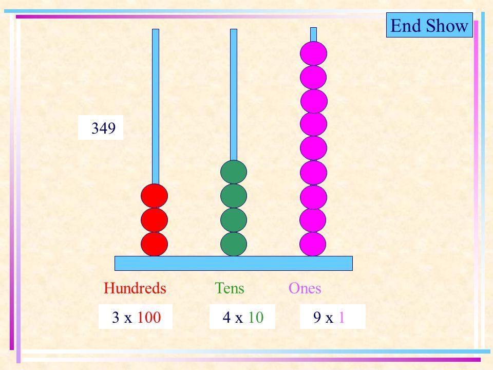 End Show HundredsTensOnes 3 x 100 4 x 10 9 x 1 349