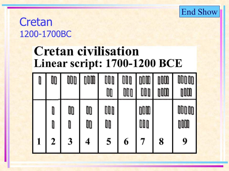 End Show Cretan 1200-1700BC