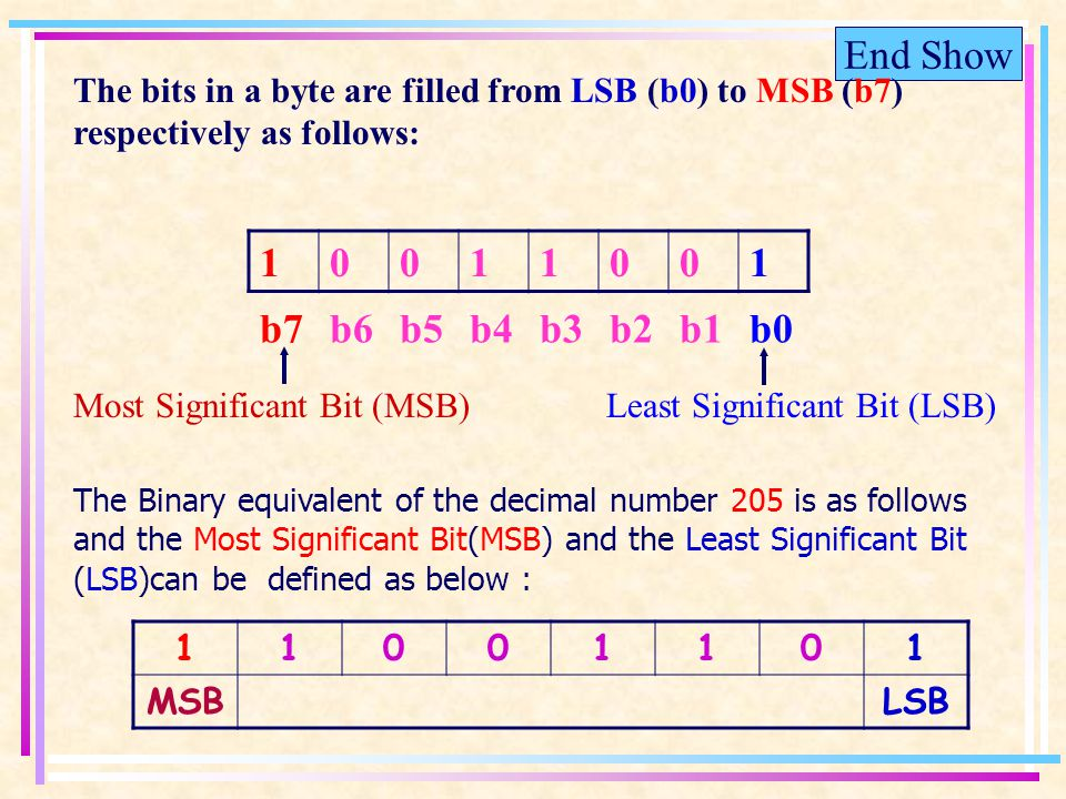 End Show The Binary equivalent of the decimal number 205 is as follows and the Most Significant Bit(MSB) and the Least Significant Bit (LSB)can be defined as below : 11001101 MSBLSB b7b6b5b4b3b2b1b0 Most Significant Bit (MSB)Least Significant Bit (LSB) 10011001 The bits in a byte are filled from LSB (b0) to MSB (b7) respectively as follows: