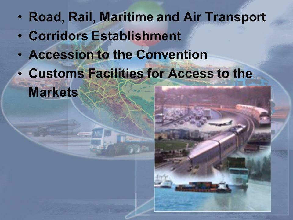 Road, Rail, Maritime and Air Transport Corridors Establishment Accession to the Convention Customs Facilities for Access to the Markets