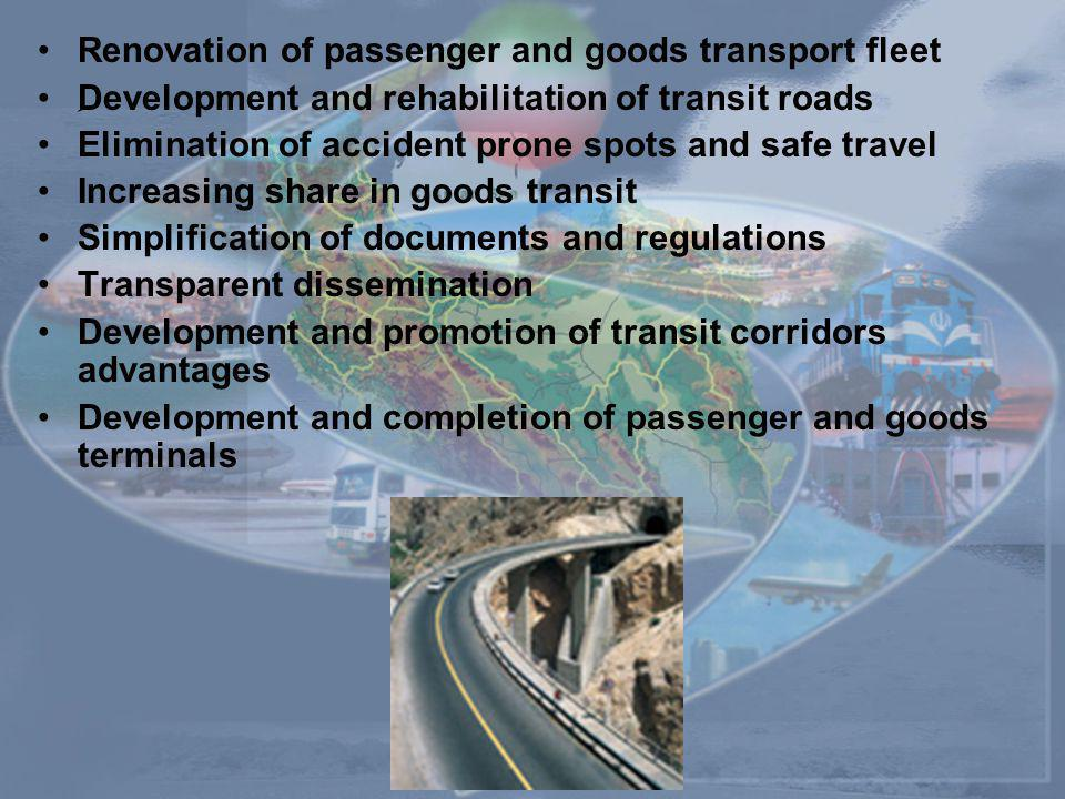 Renovation of passenger and goods transport fleet ِDevelopment and rehabilitation of transit roads Elimination of accident prone spots and safe travel Increasing share in goods transit Simplification of documents and regulations Transparent dissemination Development and promotion of transit corridors advantages Development and completion of passenger and goods terminals
