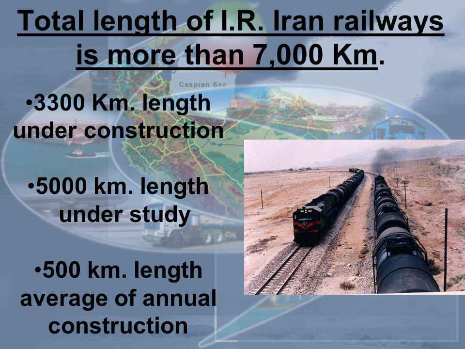 Total length of I.R. Iran railways is more than 7,000 Km.
