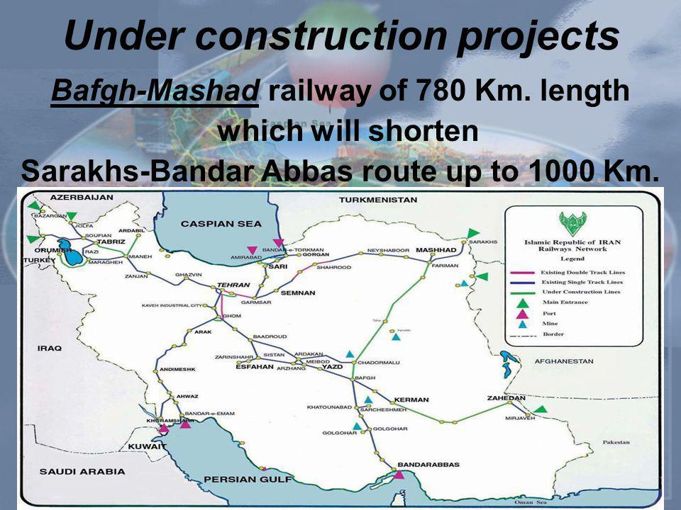 Under construction projects Bafgh-Mashad railway of 780 Km.