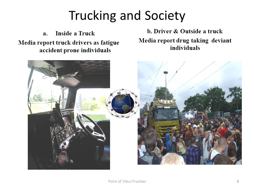 Trucking and Society a.Inside a Truck Media report truck drivers as fatigue accident prone individuals b.