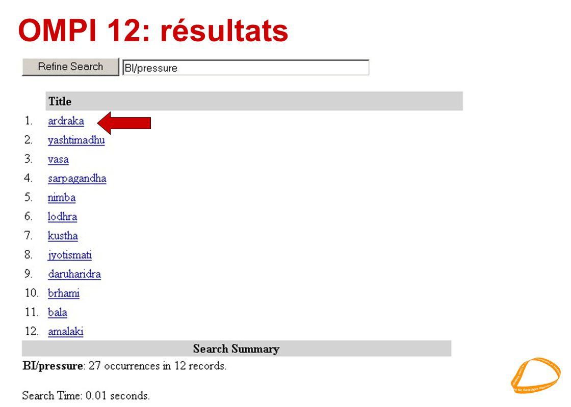 OMPI 12: résultats