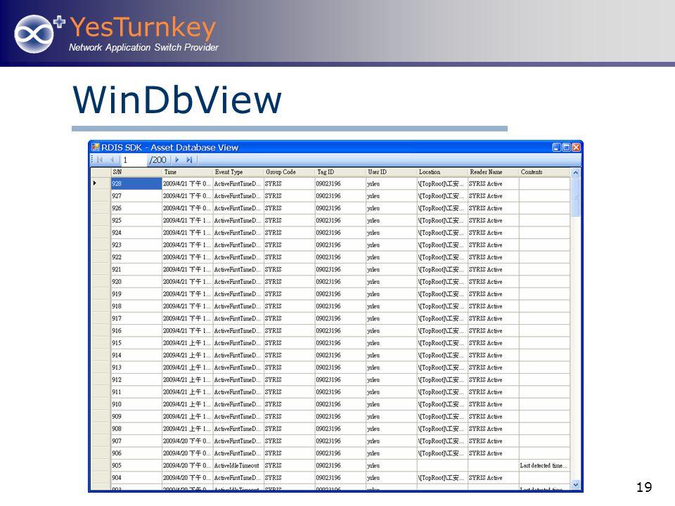 YesTurnkey Network Application Switch Provider 19 WinDbView