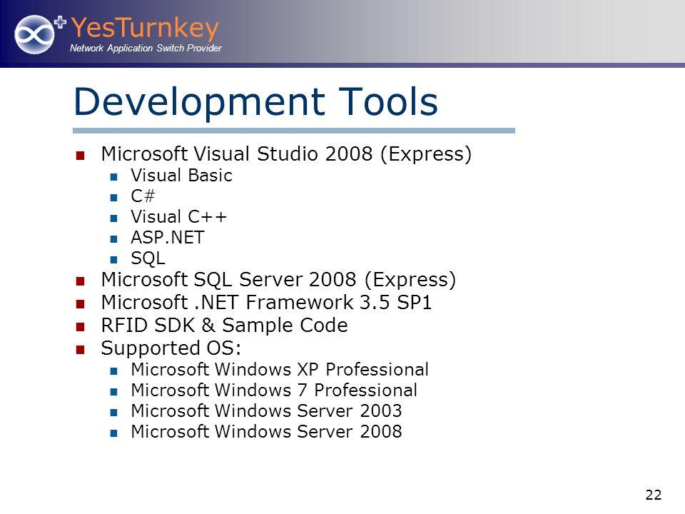 YesTurnkey Network Application Switch Provider 22 Development Tools Microsoft Visual Studio 2008 (Express) Visual Basic C# Visual C++ ASP.NET SQL Micr