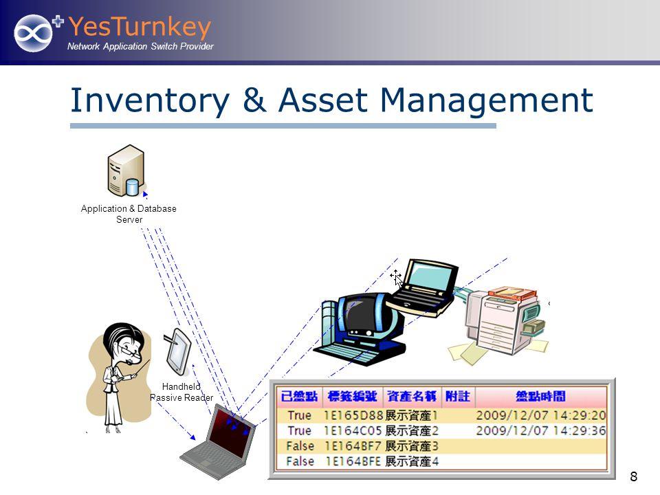 YesTurnkey Network Application Switch Provider 8 Inventory & Asset Management Application & Database Server Handheld Passive Reader
