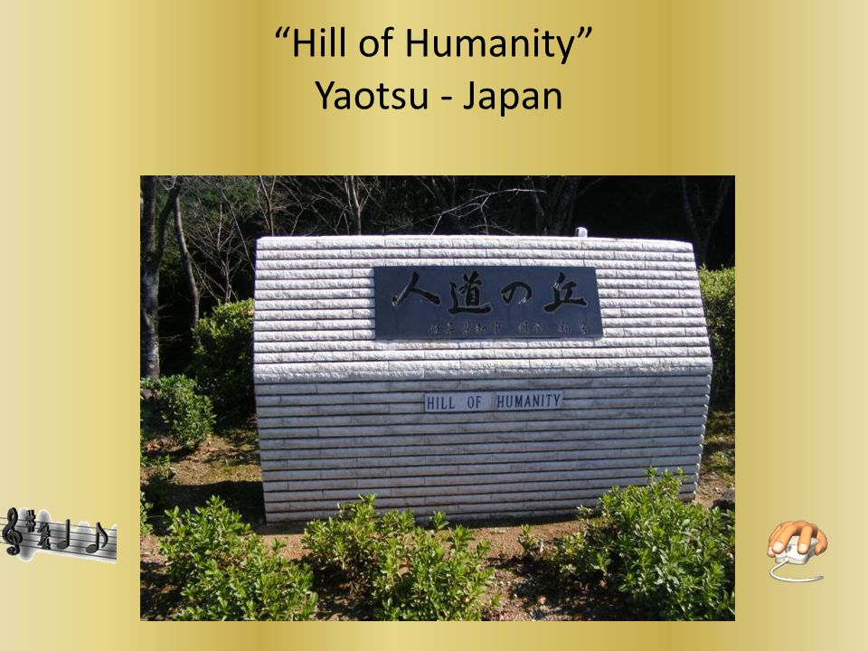 Humanity Hill and 3 peace Bells They represent stacks of visas and are called Love- courage – heart