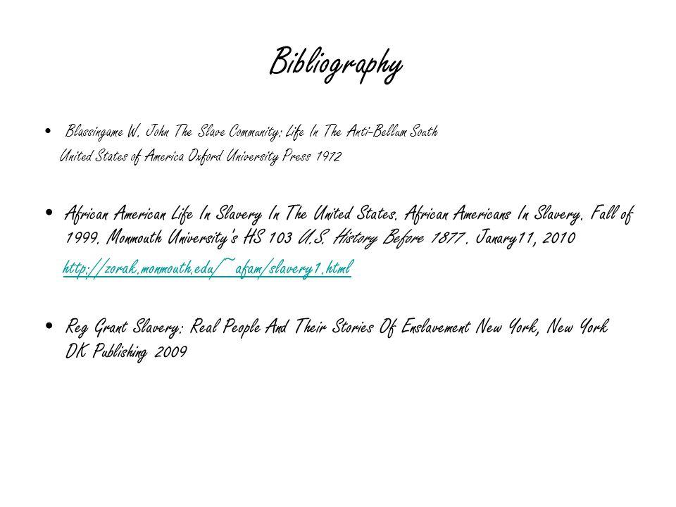Bibliography Blassingame W.