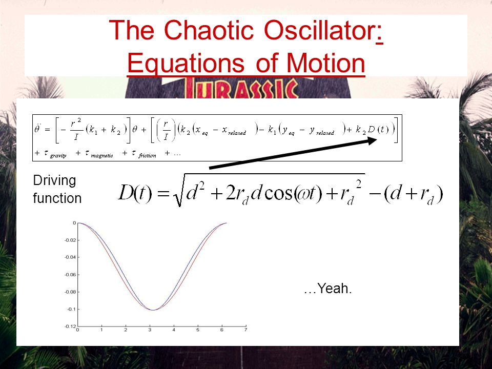 The Chaotic Oscillator: Equations of Motion So far, contributions from spring force terms appear linear, but…
