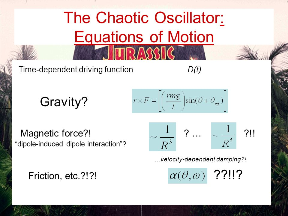 Driving function …Yeah. The Chaotic Oscillator: Equations of Motion