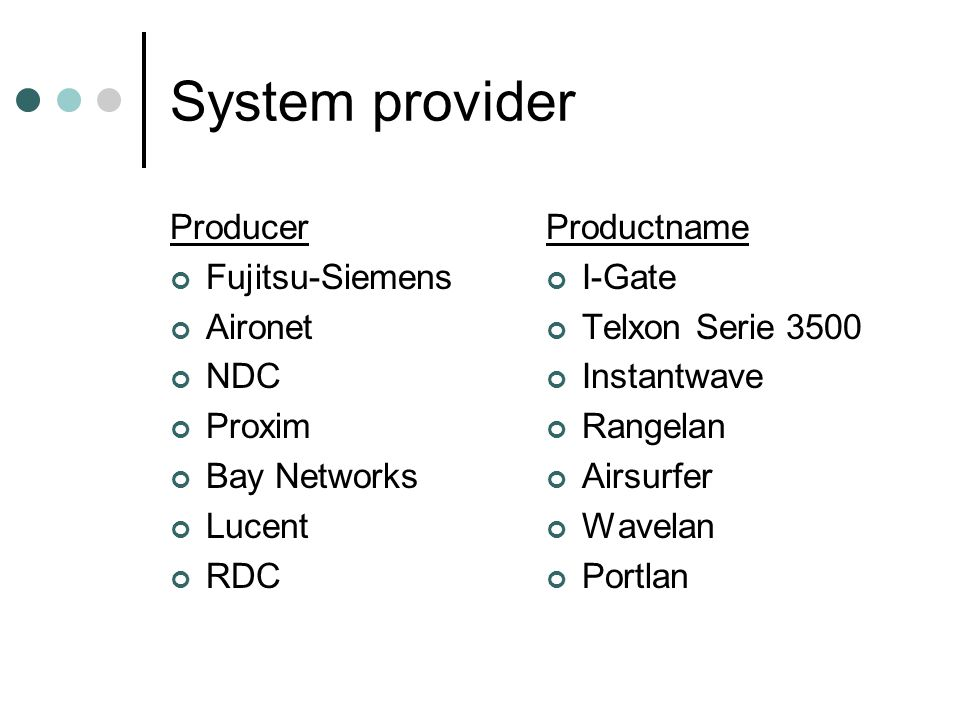 System provider Producer Fujitsu-Siemens Aironet NDC Proxim Bay Networks Lucent RDC Productname I-Gate Telxon Serie 3500 Instantwave Rangelan Airsurfer Wavelan Portlan
