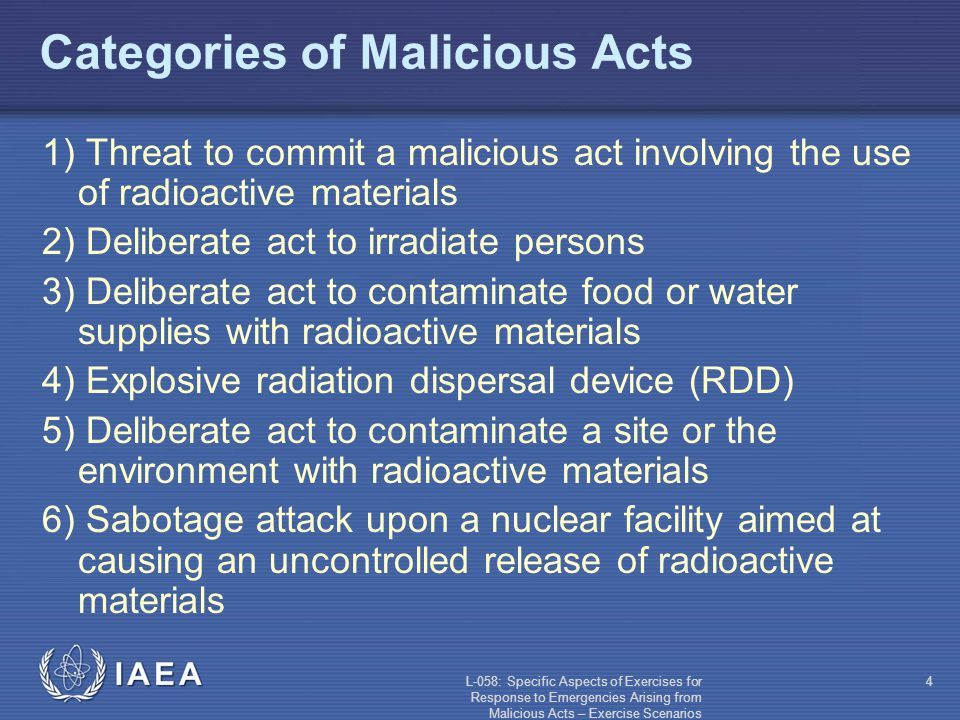 L-058: Specific Aspects of Exercises for Response to Emergencies Arising from Malicious Acts – Exercise Scenarios 15 Explosive RDD - Example Massive explosion downtown at a major city Explosion appeared to originate from the sewer system Gas leak suspected