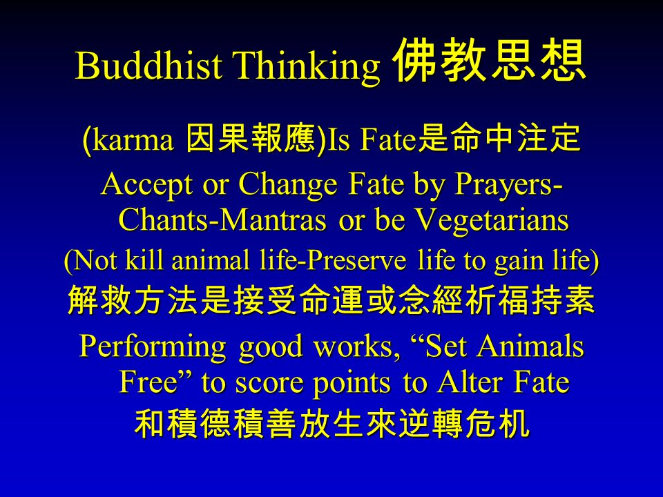 Buddhist Thinking Buddhist Thinking (karma )Is Fate Accept or Change Fate by Prayers- Chants-Mantras or be Vegetarians (Not kill animal life-Preserve life to gain life) Performing good works, Set Animals Free to score points to Alter Fate