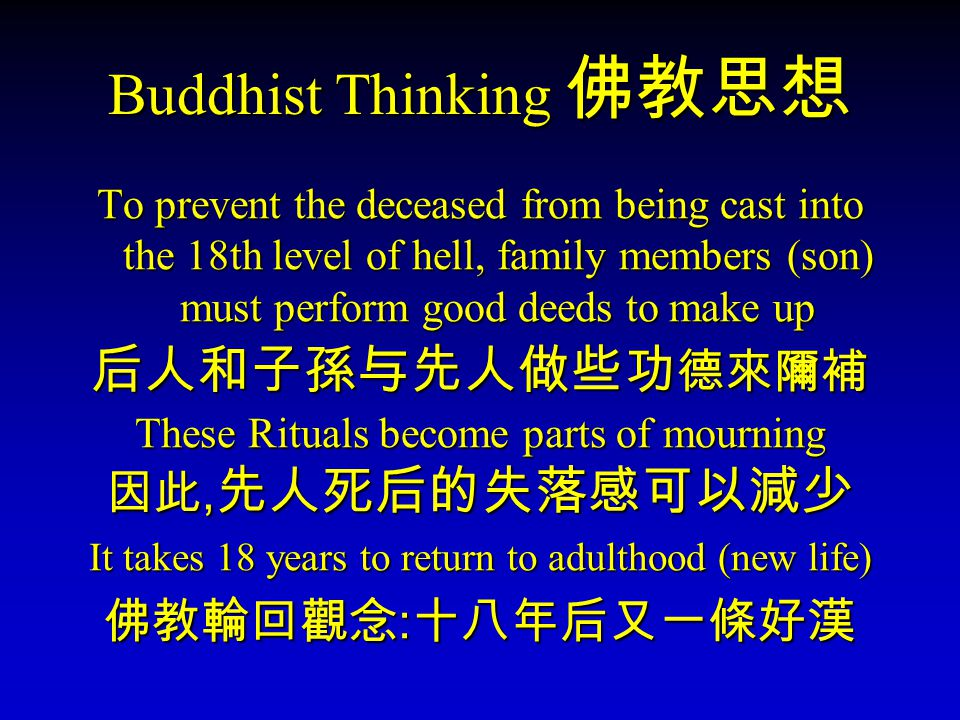 Buddhist Thinking Buddhist Thinking To prevent the deceased from being cast into the 18th level of hell, family members (son) must perform good deeds to make up These Rituals become parts of mourning, It takes 18 years to return to adulthood (new life) :