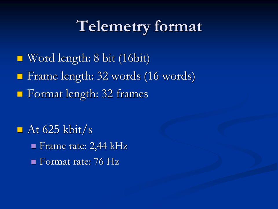 Telemetry format Word length: 8 bit (16bit) Word length: 8 bit (16bit) Frame length: 32 words (16 words) Frame length: 32 words (16 words) Format length: 32 frames Format length: 32 frames At 625 kbit/s At 625 kbit/s Frame rate: 2,44 kHz Frame rate: 2,44 kHz Format rate: 76 Hz Format rate: 76 Hz