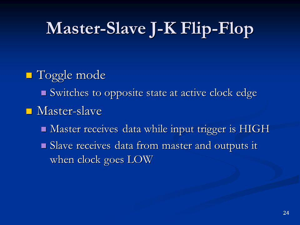 Master-Slave J-K Flip-Flop Toggle mode Toggle mode Switches to opposite state at active clock edge Switches to opposite state at active clock edge Master-slave Master-slave Master receives data while input trigger is HIGH Master receives data while input trigger is HIGH Slave receives data from master and outputs it when clock goes LOW Slave receives data from master and outputs it when clock goes LOW 24