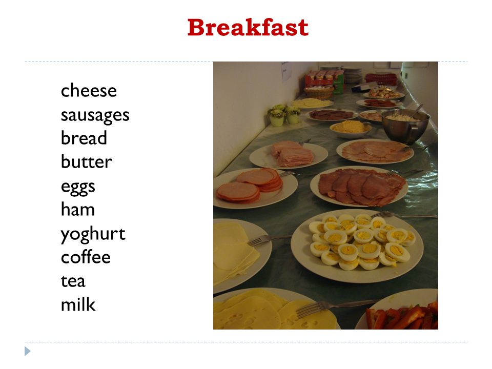 Breakfast cheese sausages bread butter eggs ham yoghurt coffee tea milk