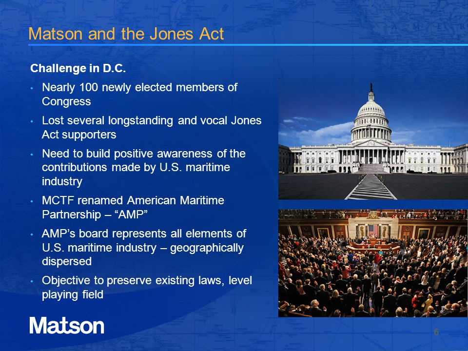 Matson and the Jones Act Challenge in D.C.