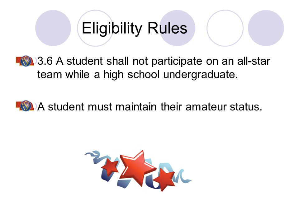 Eligibility Rules 3.6 A student shall not participate on an all-star team while a high school undergraduate. A student must maintain their amateur sta