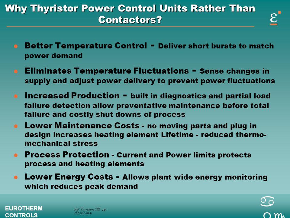 Ref: Thyristors SRF.ppt (11/06/2014) EUROTHERM CONTROLS a bc Why Thyristor Power Control Units Rather Than Contactors? l Better Temperature Control -