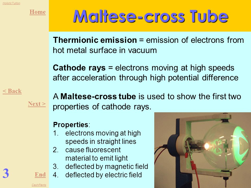 Home End HolisticTuition CashPlants 3 < Back Next > Maltese-cross Tube Thermionic emission = emission of electrons from hot metal surface in vacuum Cathode rays = electrons moving at high speeds after acceleration through high potential difference A Maltese-cross tube is used to show the first two properties of cathode rays.