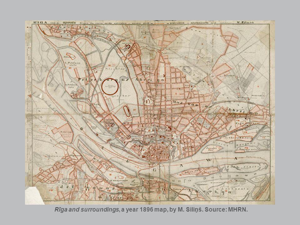 Rīga and surroundings, a year 1896 map, by M. Siliņš. Source: MHRN.