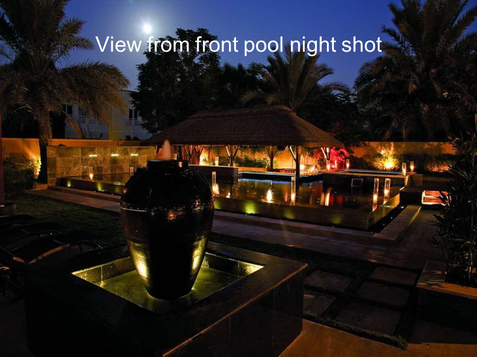 View from front pool night shot