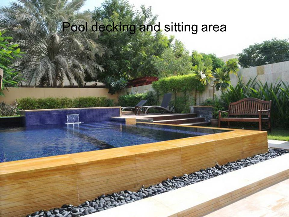 Pool decking and sitting area